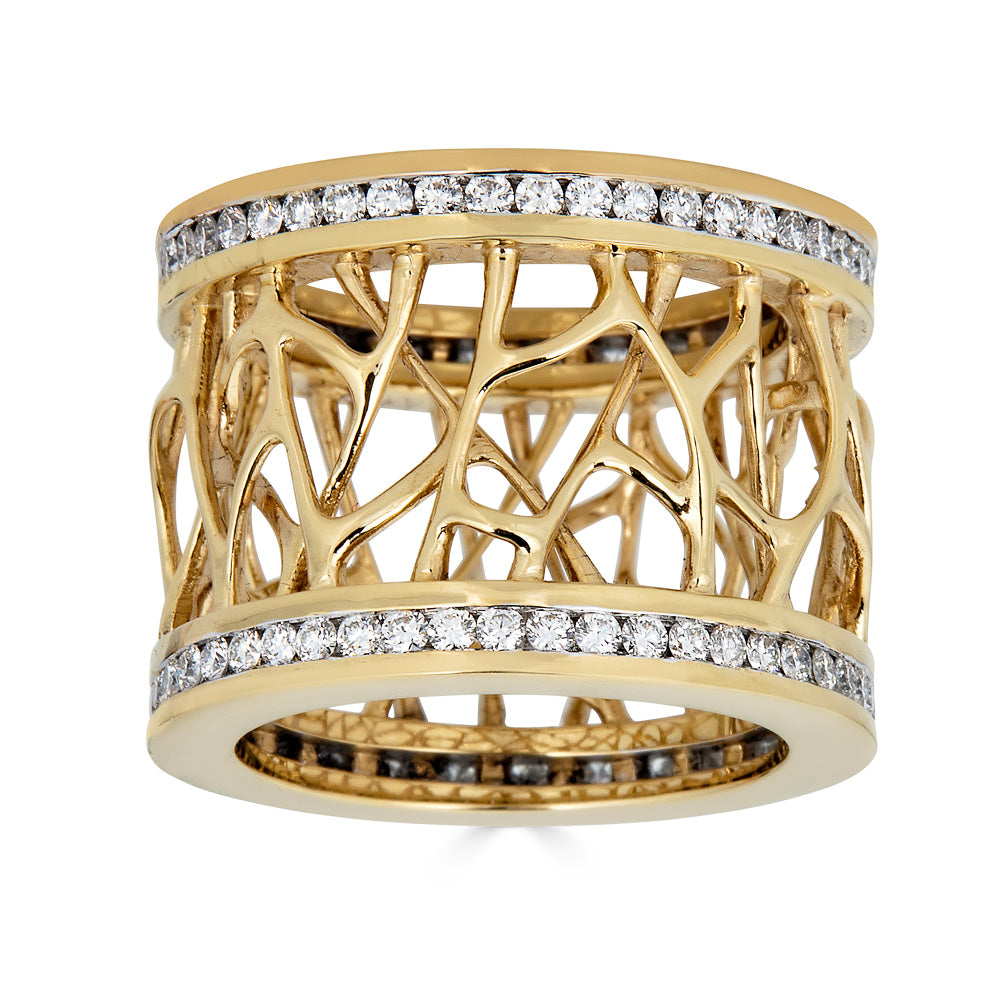 Web Frame Diamond Gold Ring