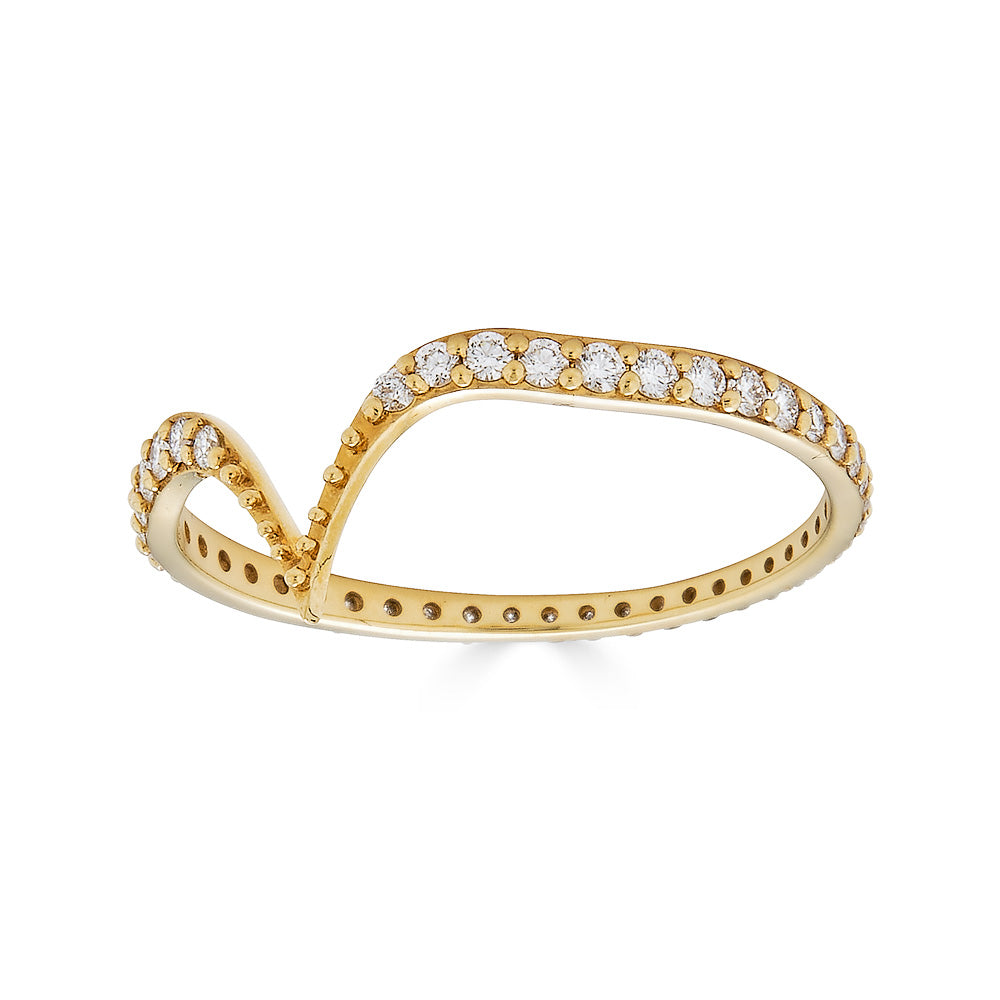 Fabri Single Stackable Diamond Gold Ring