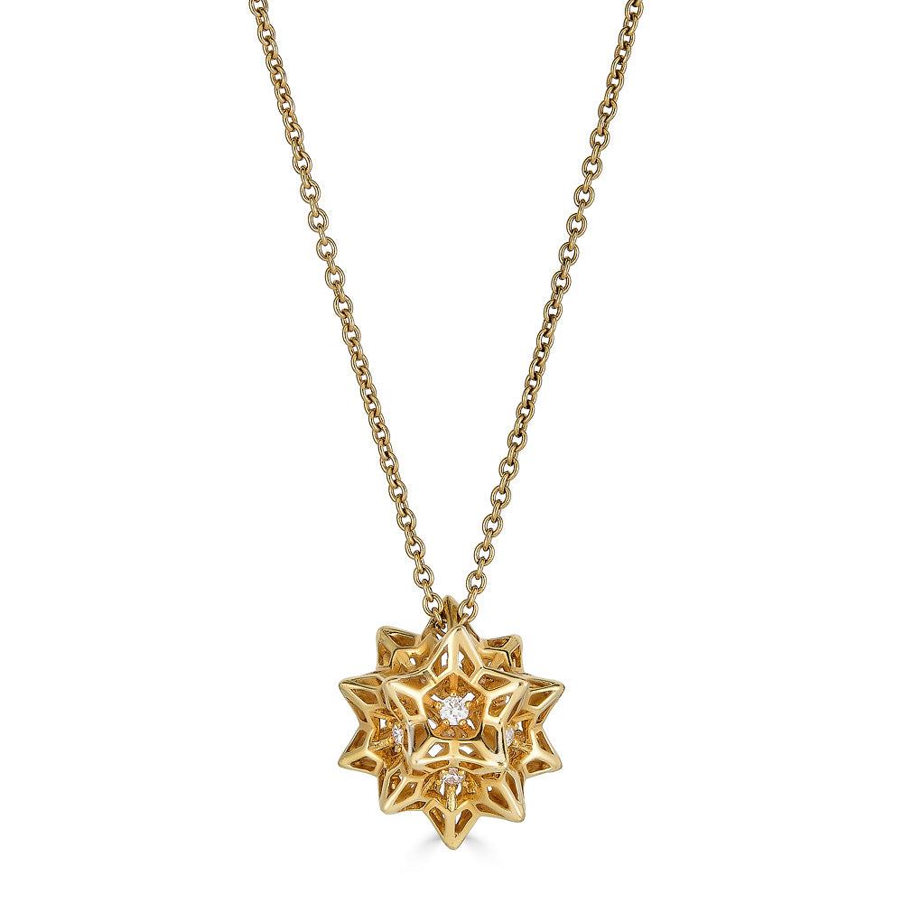 Helix Frame Diamond Gold Necklace