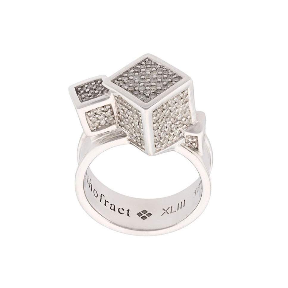 Fractality Cubes Diamond White Gold Ring