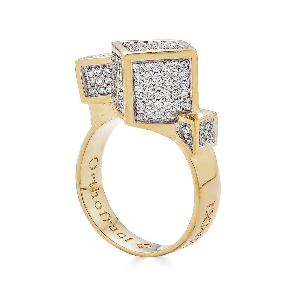 Fractality Diamond Cubes Gold Ring