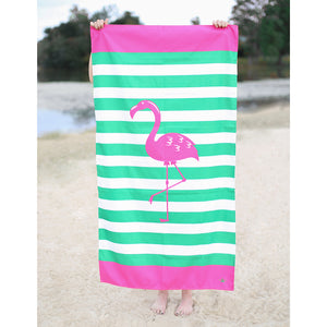 Pink Flamingo Stripe Towel