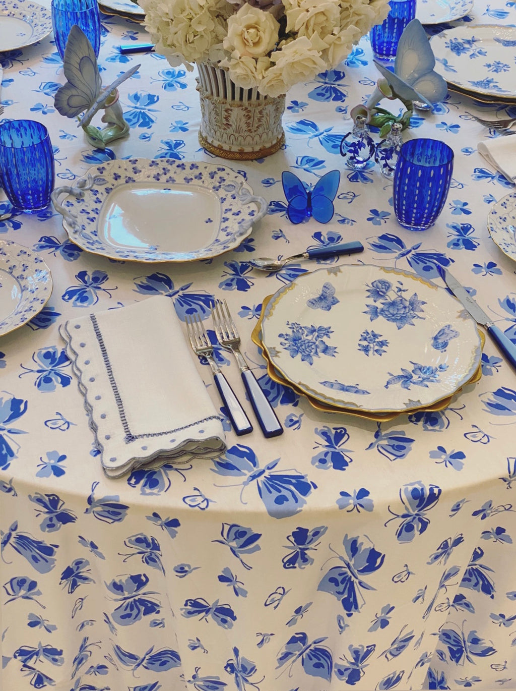 Blue Butterflies Tablecloth