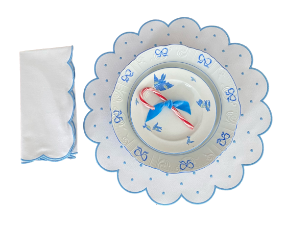 Set of Round Scalloped Placemats with Blue Dots