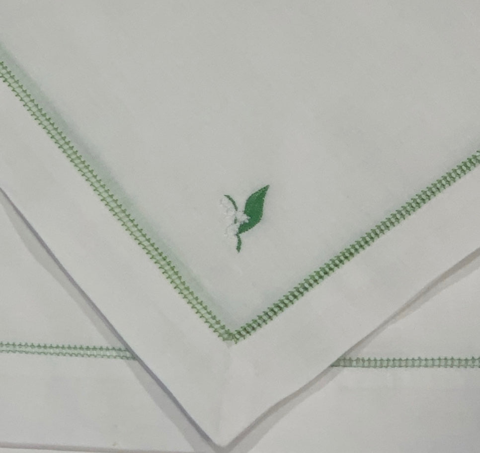 White and Green Lily of the Valley Napkins and Placemats