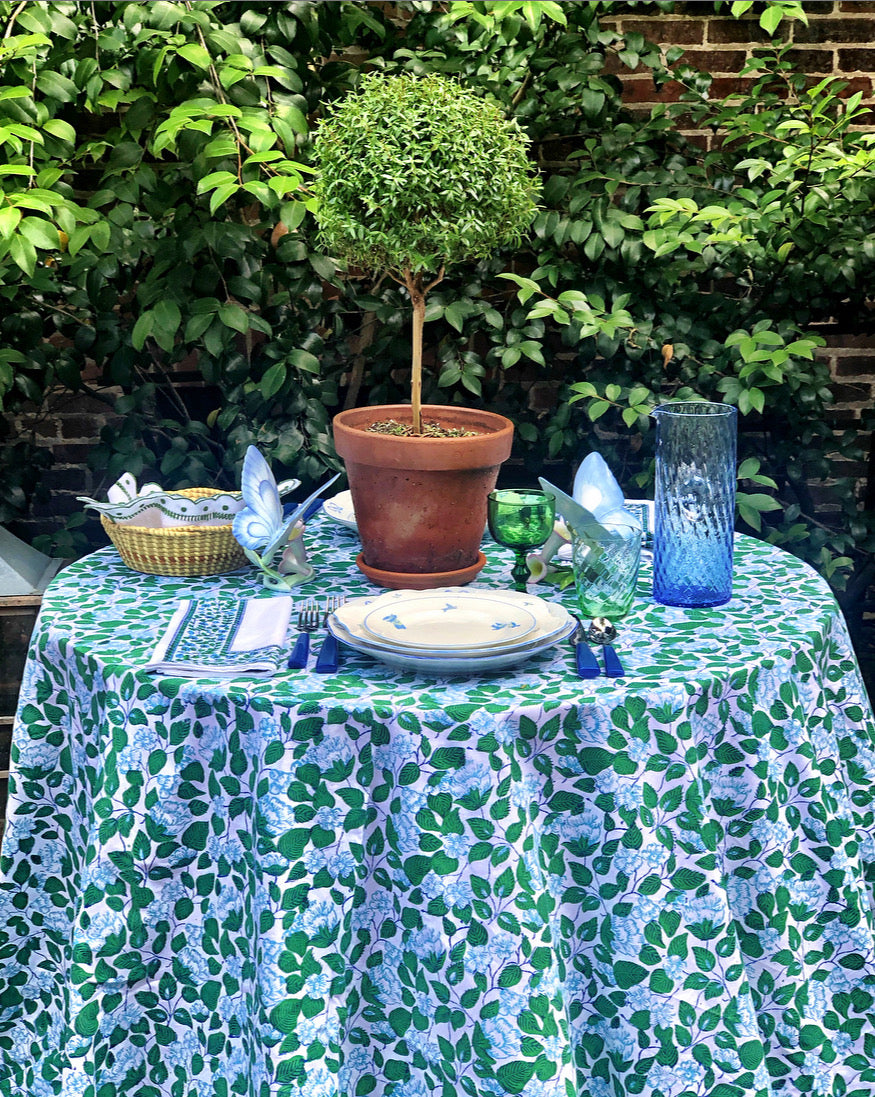Blue & Green Floral Tablecloth