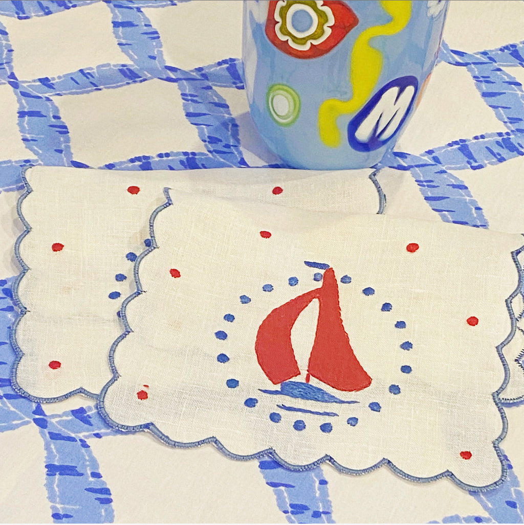 Sailboat and Dots Cocktail Napkin