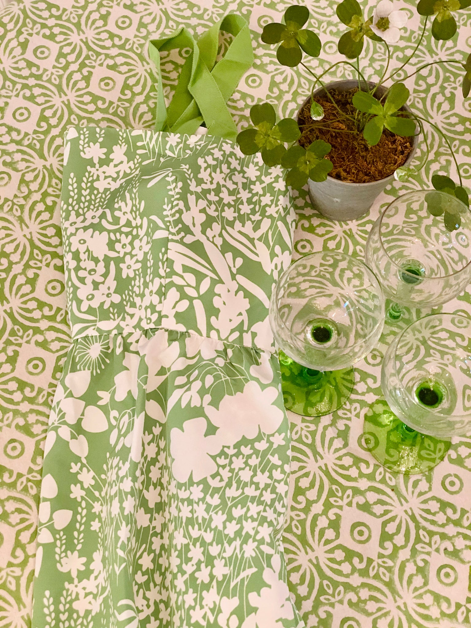 Green and White Block Print Tablecloth