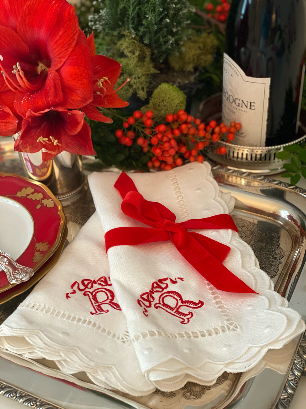 Red Bow and Initial Embroidered Napkins