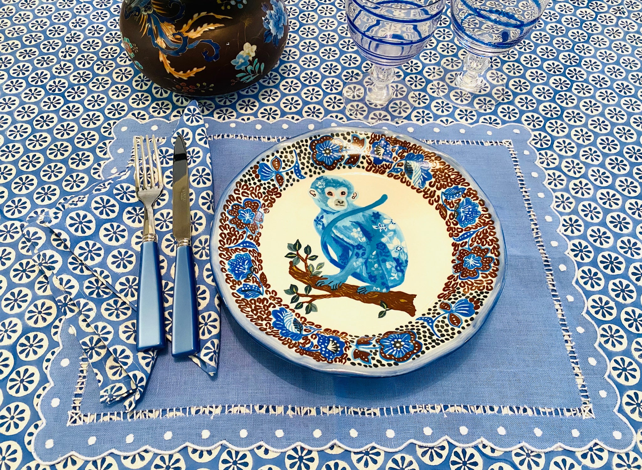 Blue Star Block Print Tablecloth