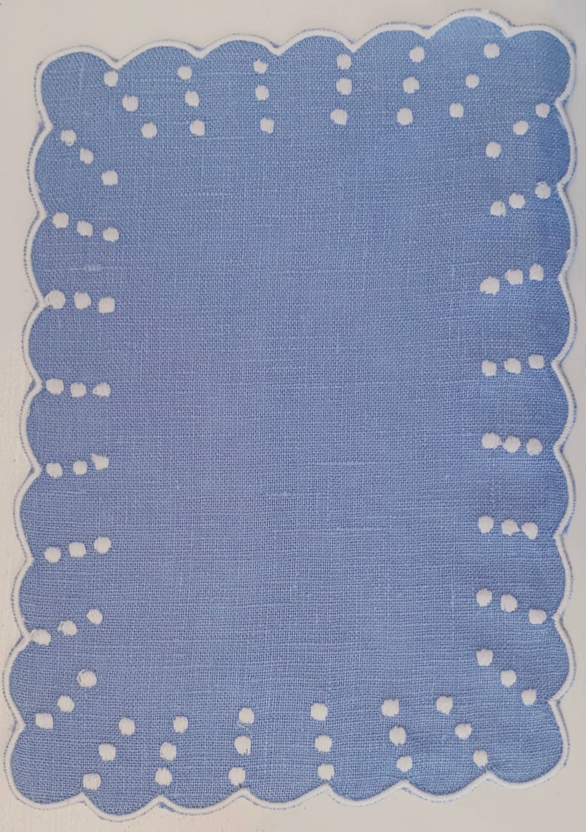 Blue and White Dot and Scalloped Cocktail Napkin