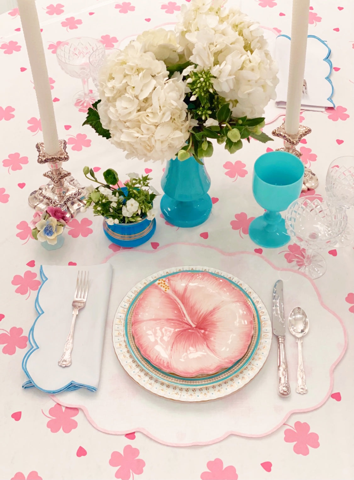 Pink Clover and Heart Tablecloth