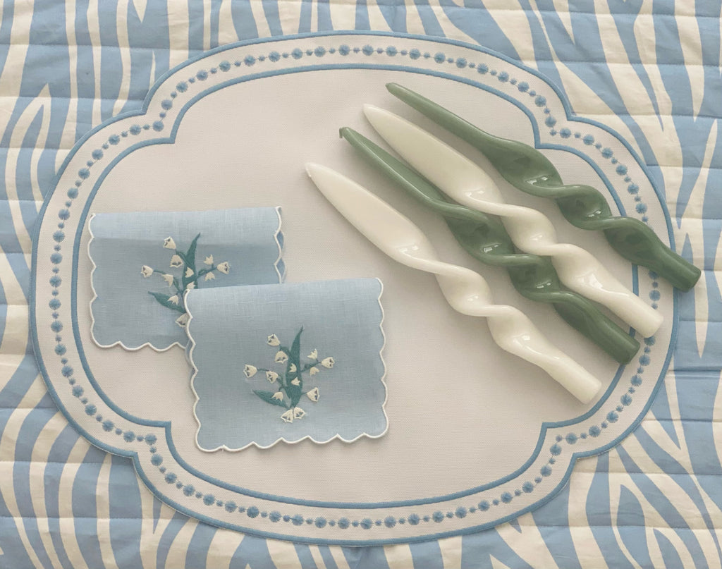 Blue and White Oval Dot Placemat