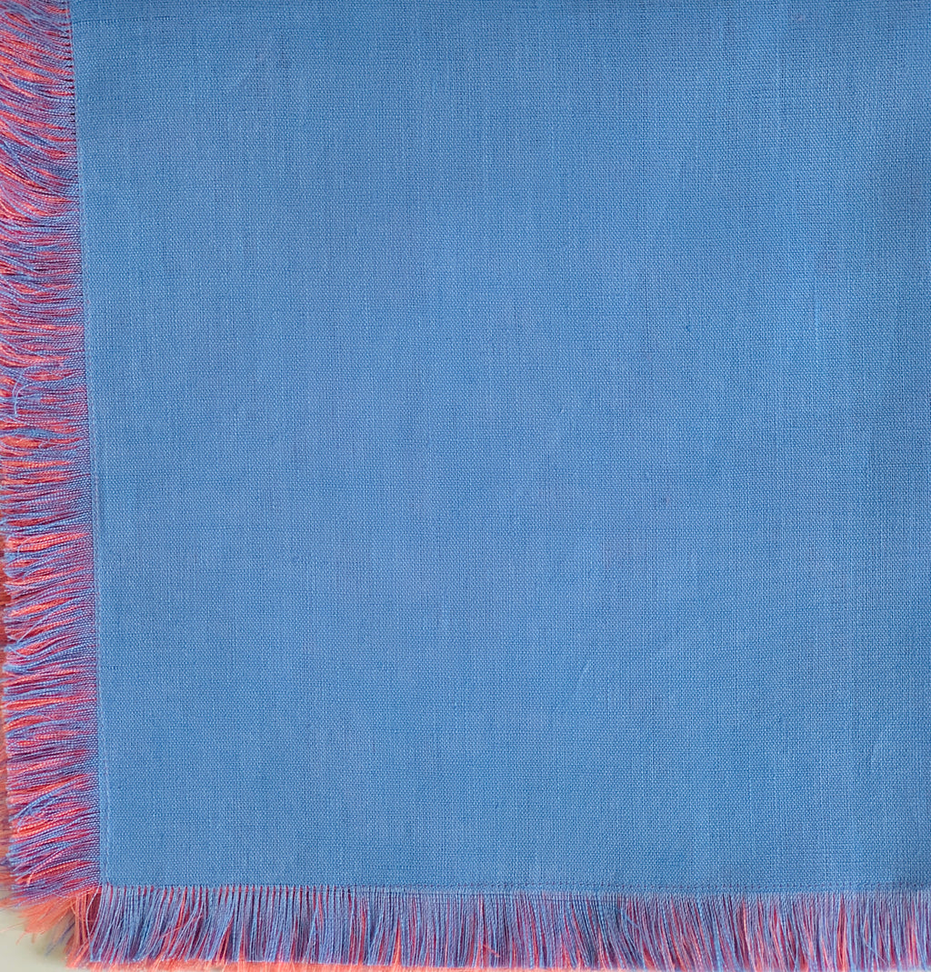 Reversible Blue and Coral Napkin