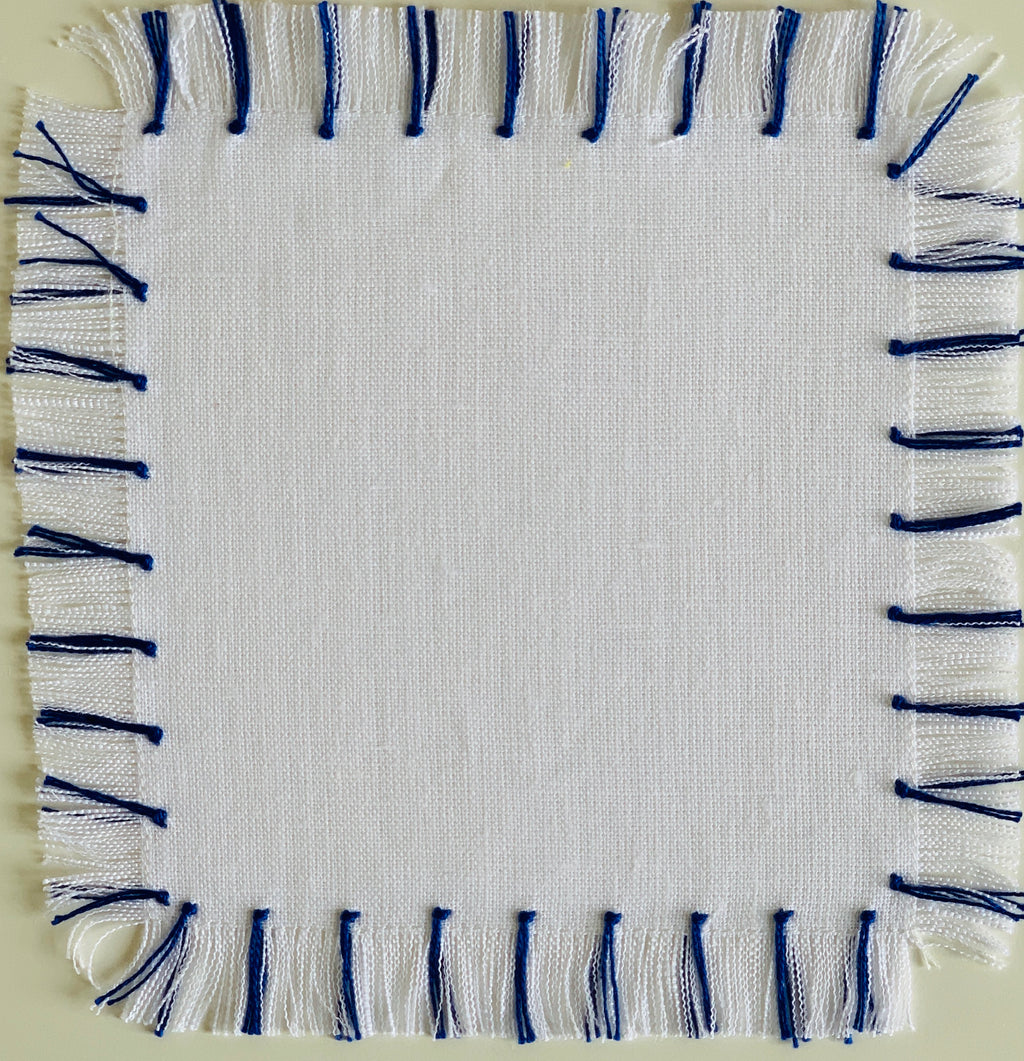White and Blue Fringe Cocktail Napkin