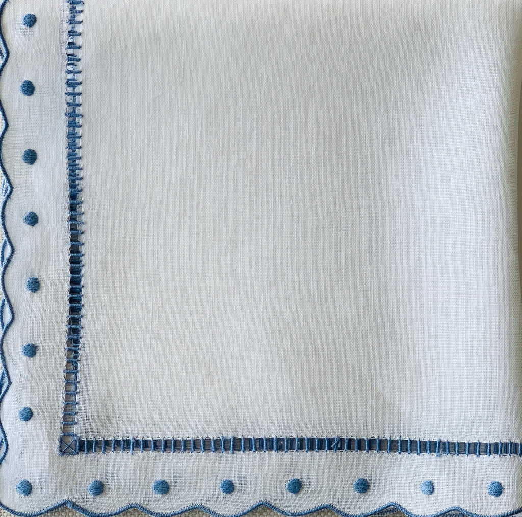 White and Blue Scalloped and Dot Napkin