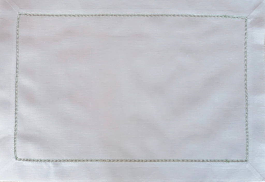 White and Green Hemstitch Placemat