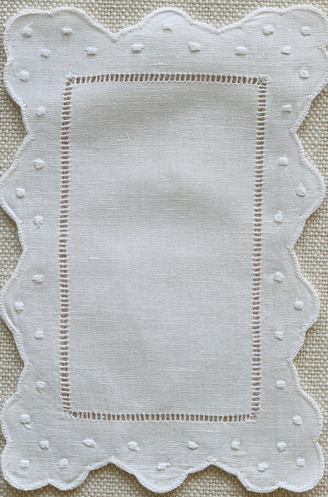 White Scalloped and Dot Cocktail Napkin