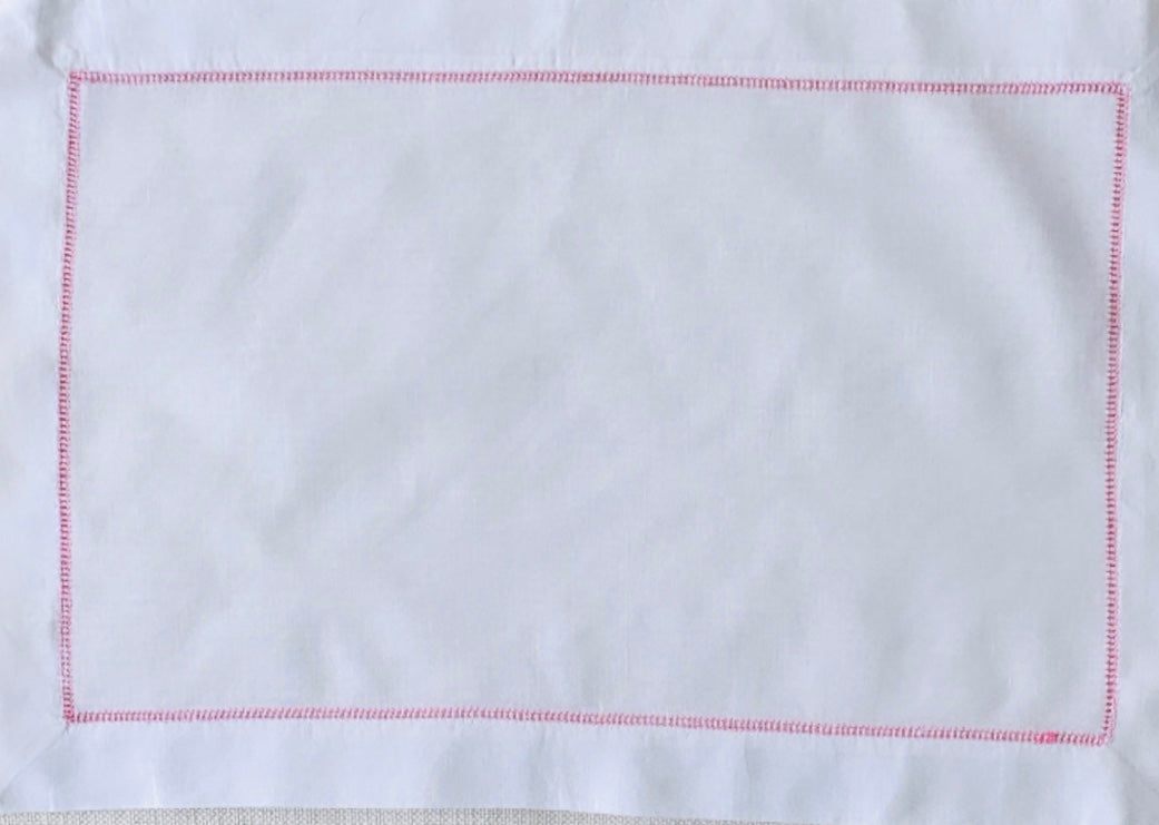 White and Pink Hemstitch Placemat