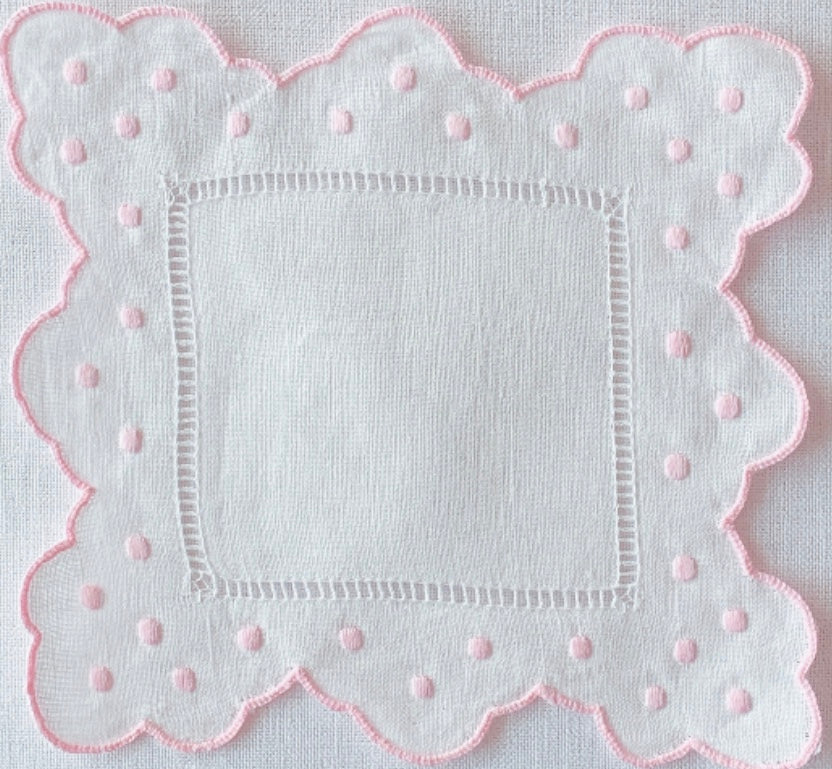 Pink and White Scalloped and Dot Cocktail Napkin