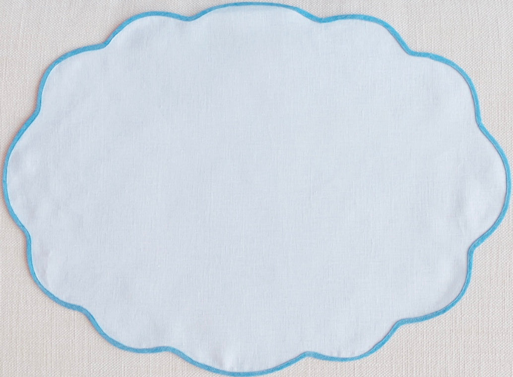 White and Blue Oval Scalloped Placemat