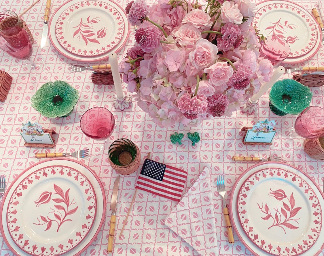 Pink Coffee Bean Block Print Tablecloth