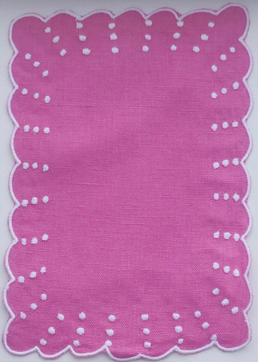Pink and White Dot and Scalloped Cocktail Napkin