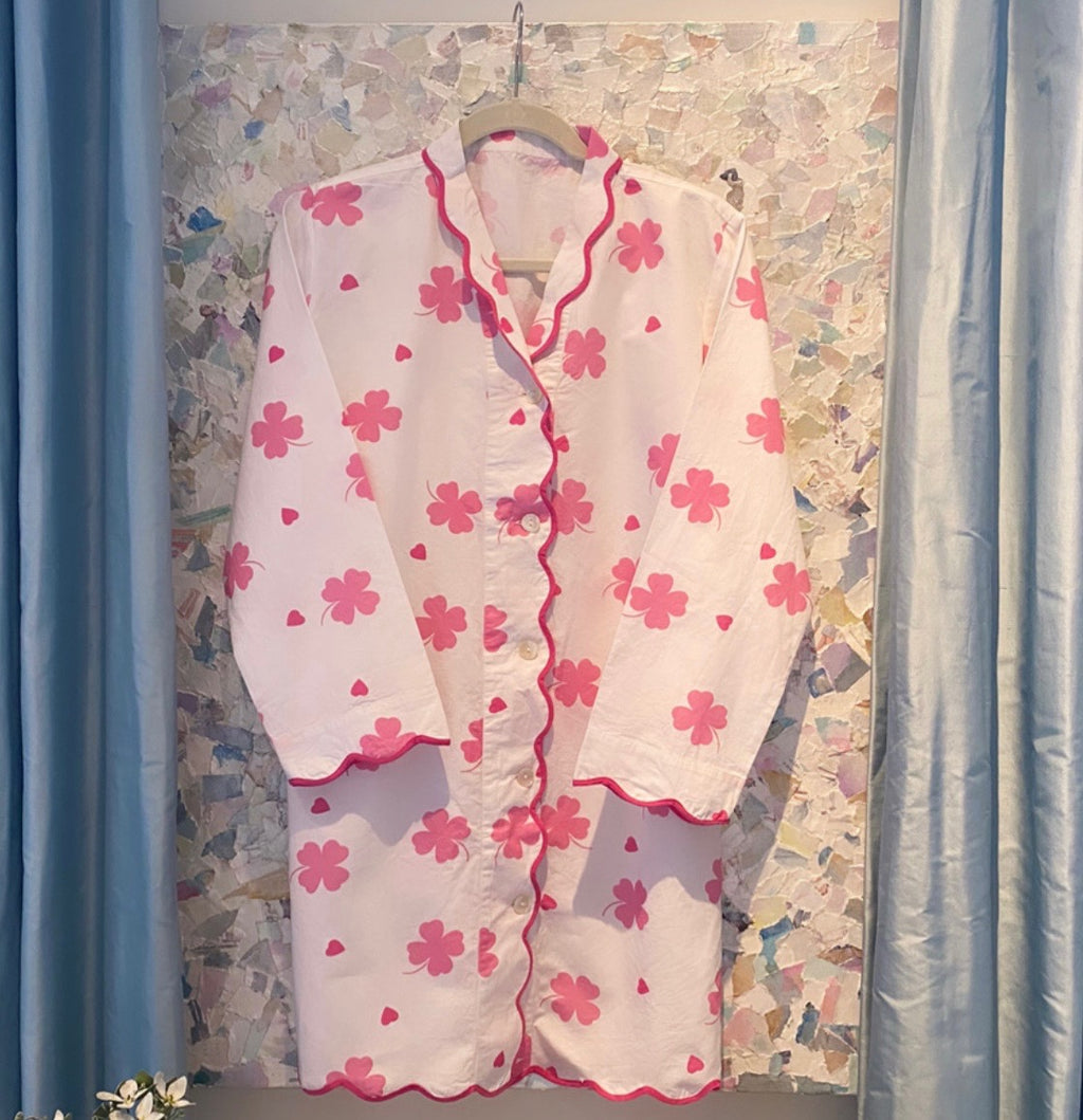Pink Clover and Heart Scalloped Nightshirt