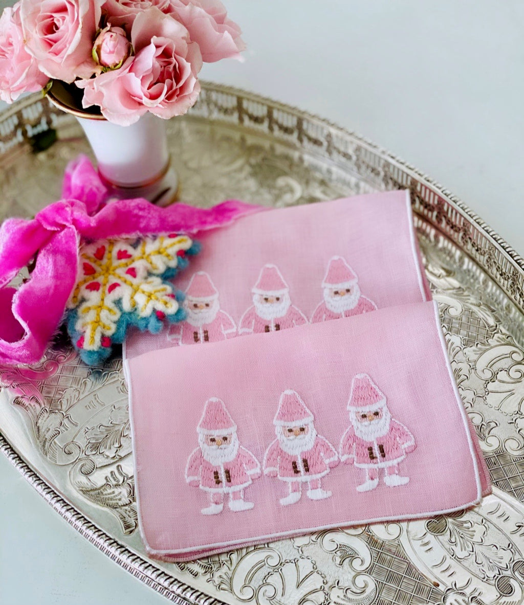Pink Santa Cocktail Napkins