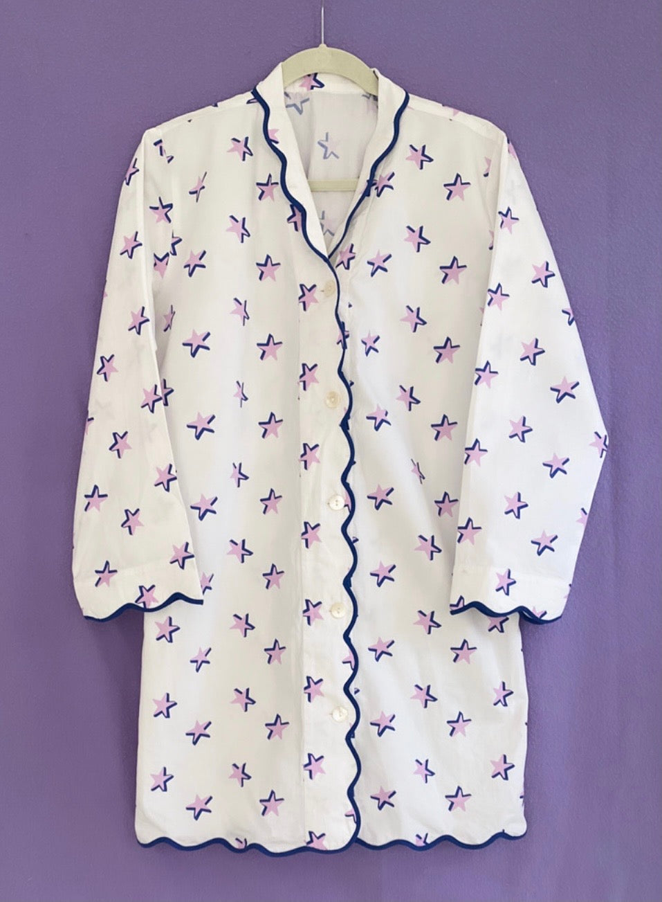 Lavender and Navy Star Nightshirts