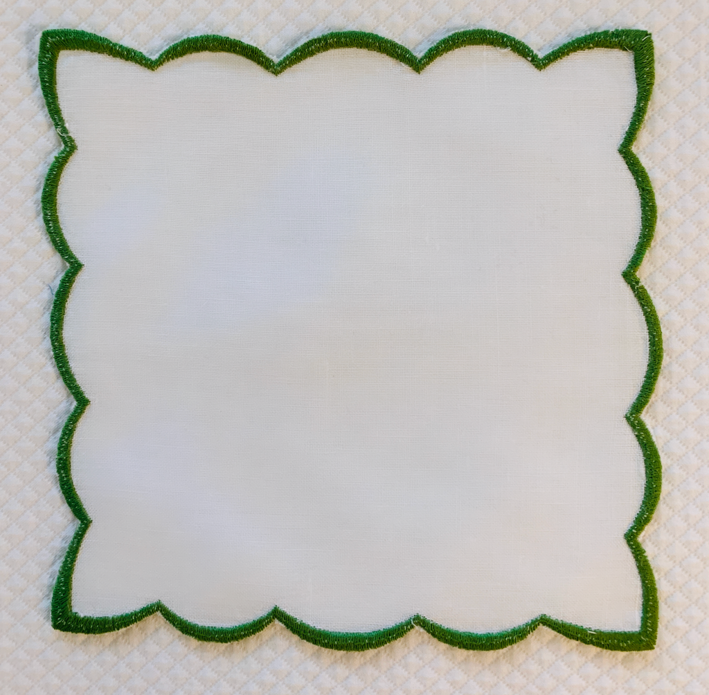 Green Scalloped Cocktail Napkin