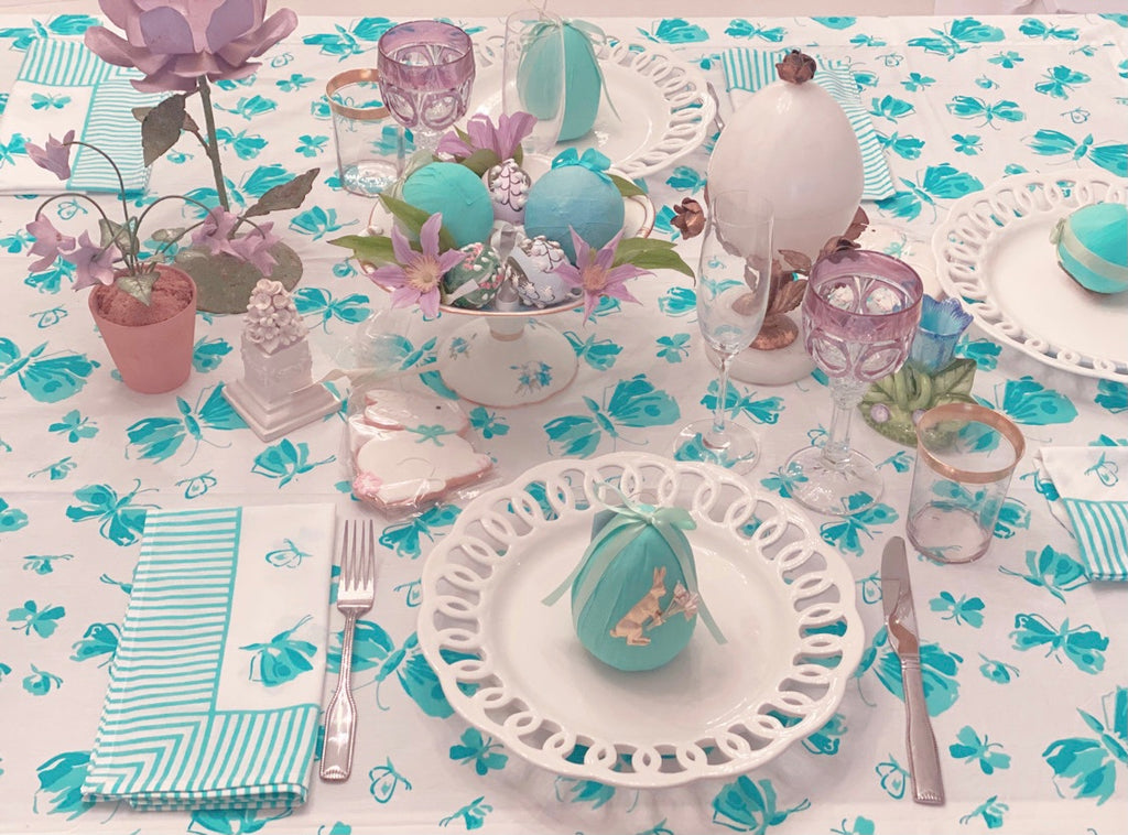 Turquoise Butterfly Tablecloth