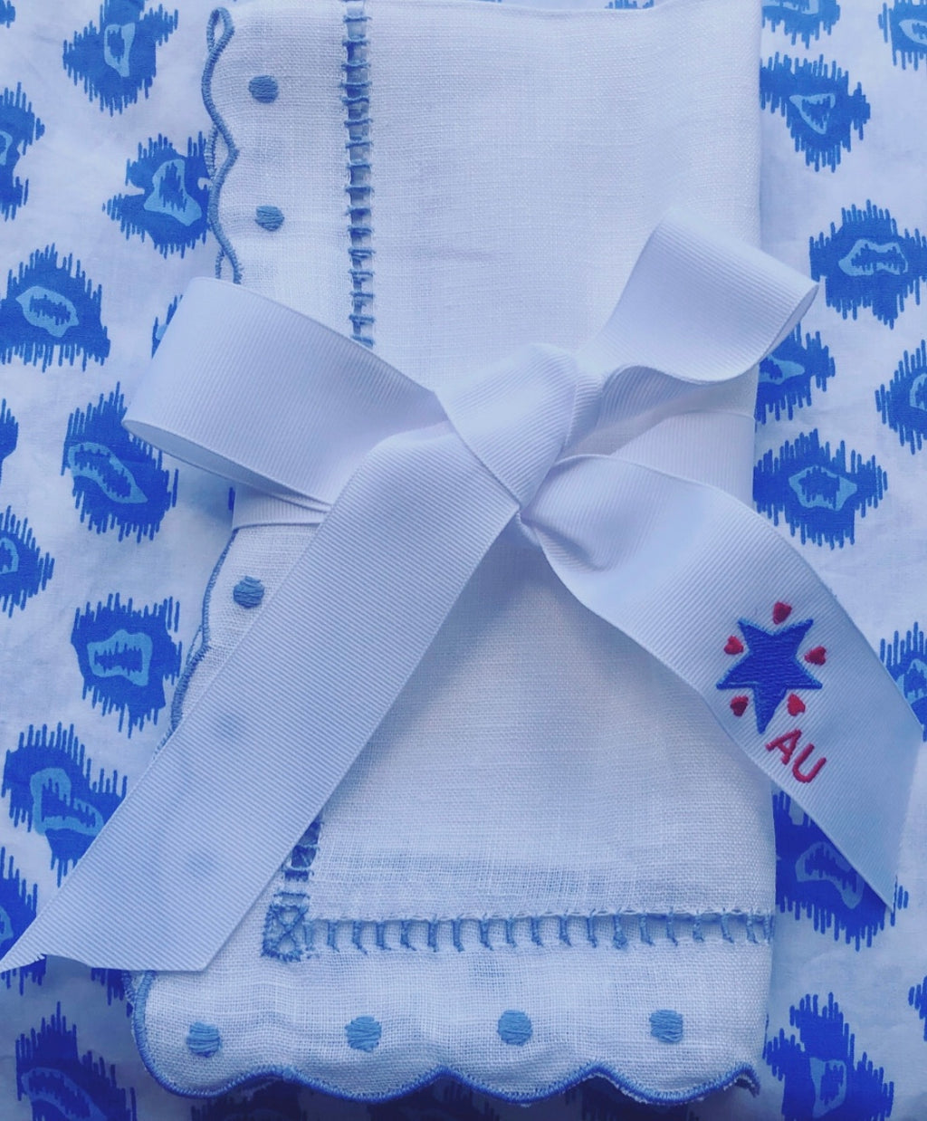 Blue Star and Red Hearts Ribbon