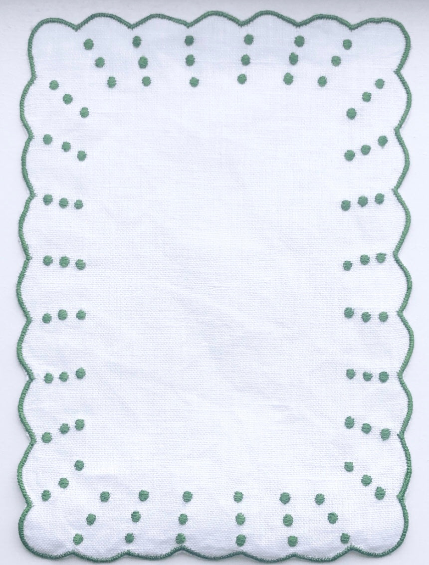 Green and White Dot and Scalloped Cocktail Napkin