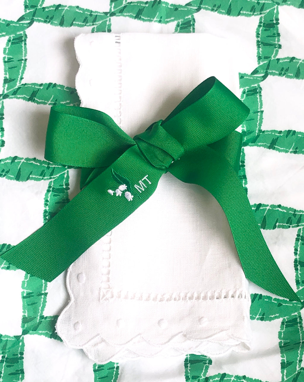 Green and White Lily of the Valley Ribbon
