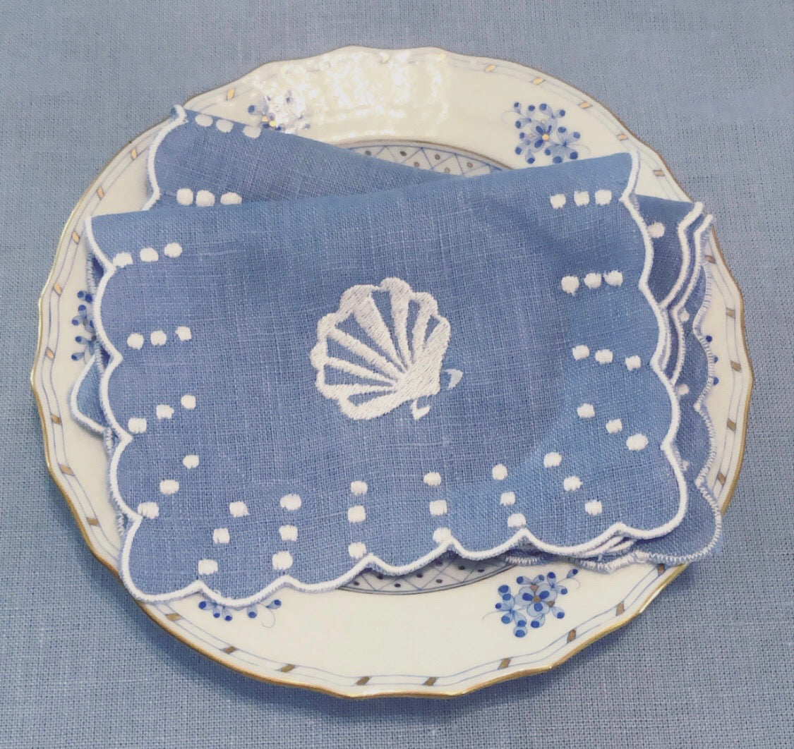 Shell Embroidered Cocktail Napkins