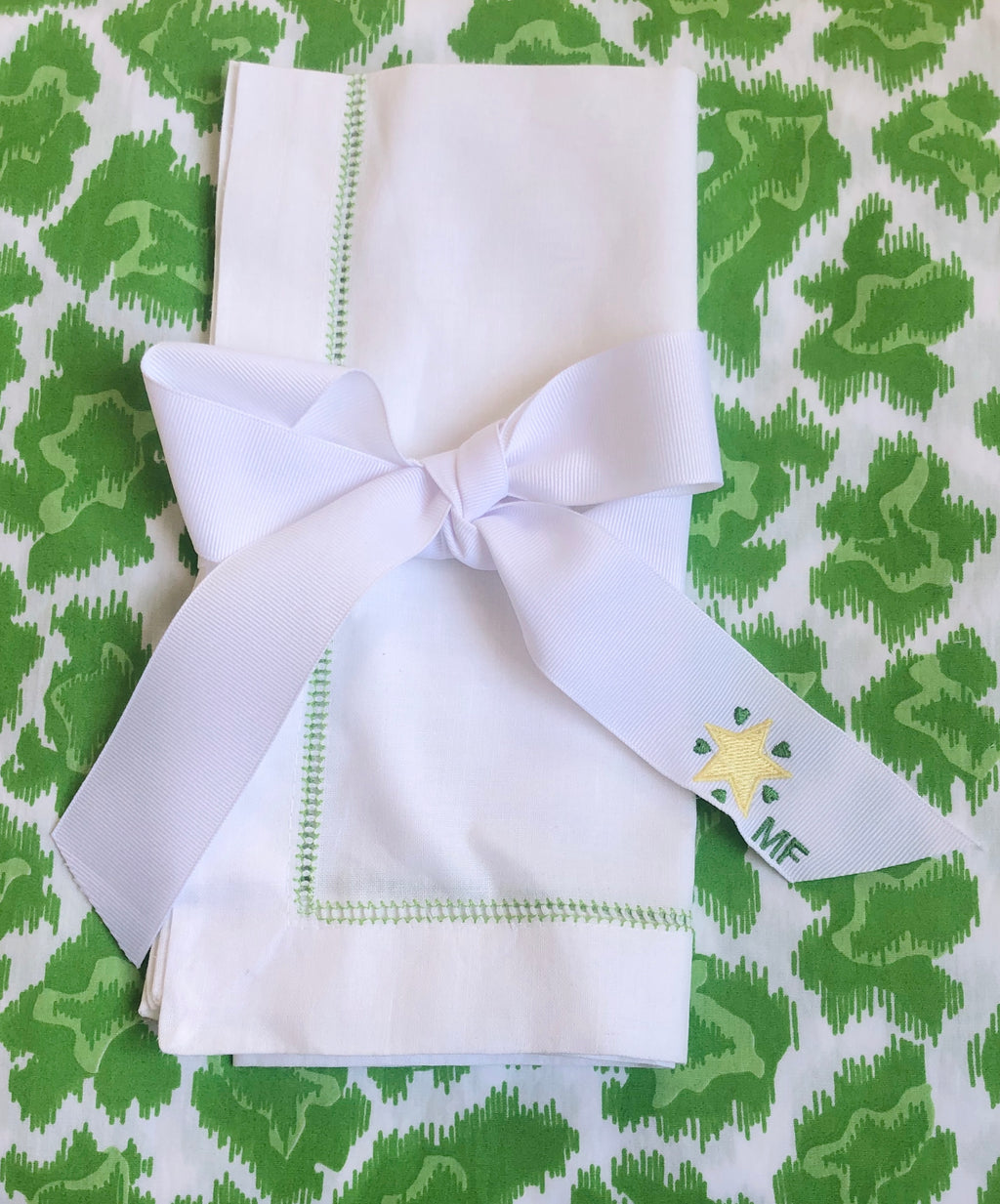 Yellow Star and Green Hearts Ribbon