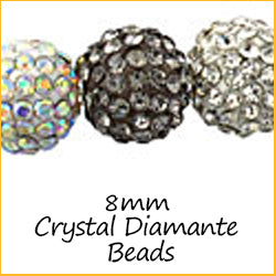 8mm Crystal Diamante Beads