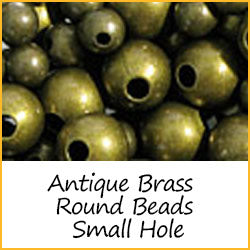 Antique Brass Round Beads Small Hole