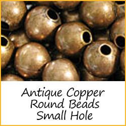 Antique Copper Round Beads Small Hole