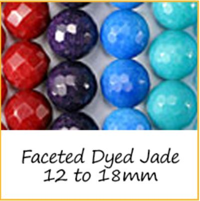 Faceted Dyed Jade 12 to 18mm