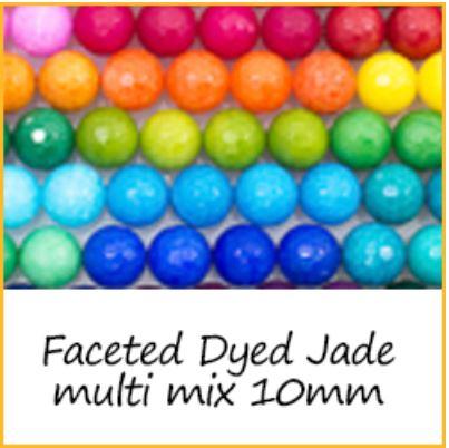 Faceted Dyed Jade multi mix 10mm