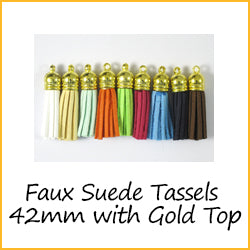 Faux Suede Tassels 42mm Gold