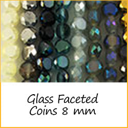 Glass Faceted Coins 8 mm