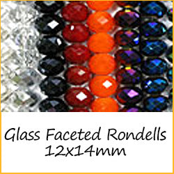 Glass Faceted Rondells - 12x14mm