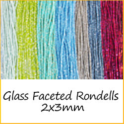 Glass Faceted Rondells - 2x3mm