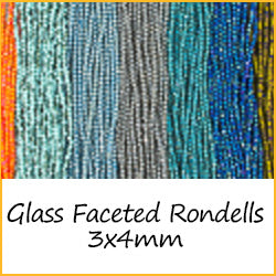 Glass Faceted Rondells - 3x4mm
