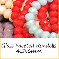 Glass Faceted Rondells - 4.5x6mm