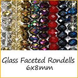 Glass Faceted Rondells 6x8mm