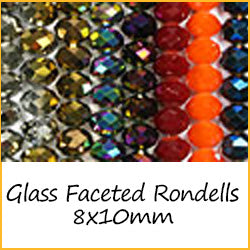 Glass Faceted Rondells 8x10mm
